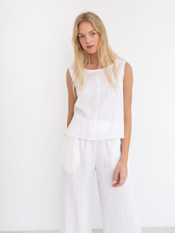 Image 2 of RILEY Wide Leg Linen Pants in White from Love and Confuse