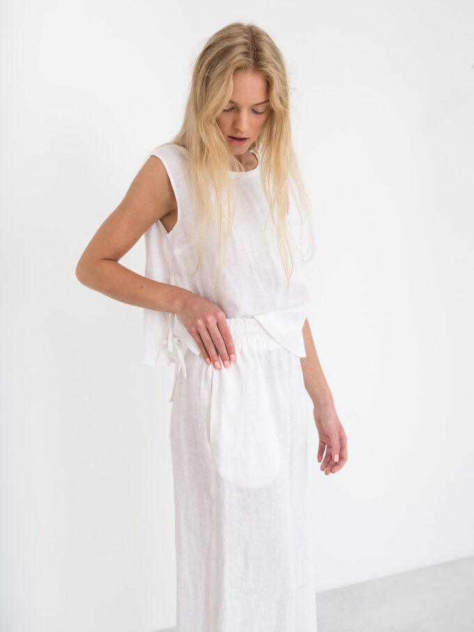 Image 3 of RILEY Wide Leg Linen Pants in White from Love and Confuse