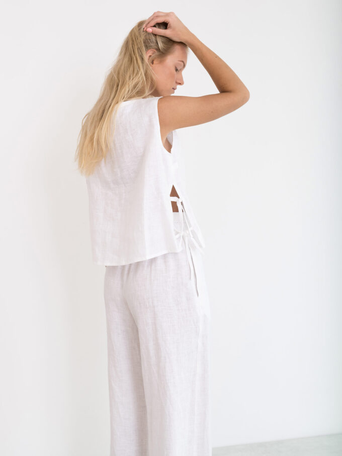 Image 4 of RILEY Wide Leg Linen Pants in White from Love and Confuse