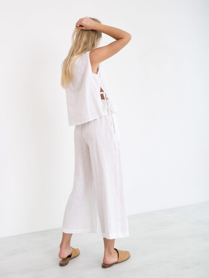 Image 5 of RILEY Wide Leg Linen Pants in White from Love and Confuse