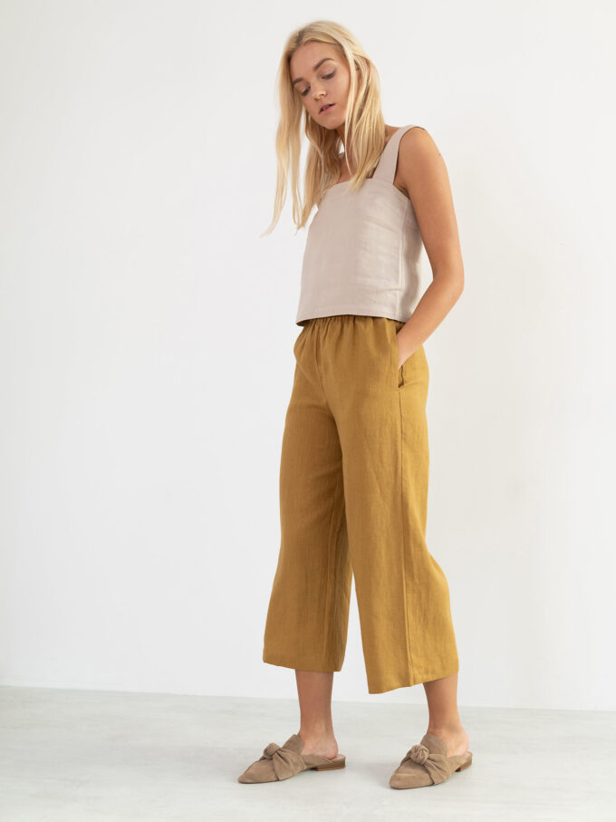 Image 1 of RILEY Wide Leg Linen Pants in Yellow Honey from Love and Confuse