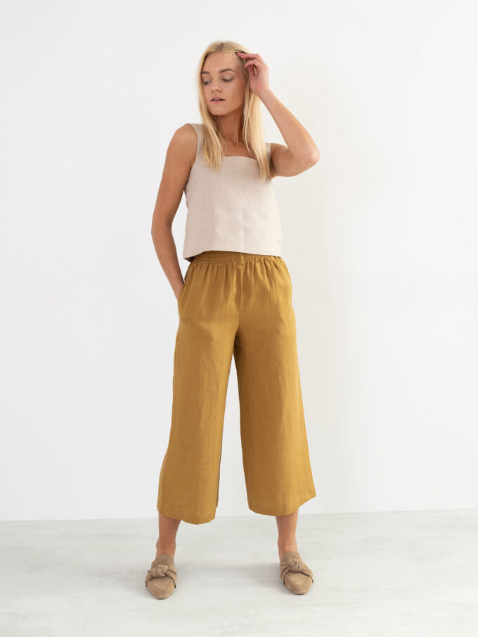 Image 2 of RILEY Wide Leg Linen Pants in Yellow Honey from Love and Confuse