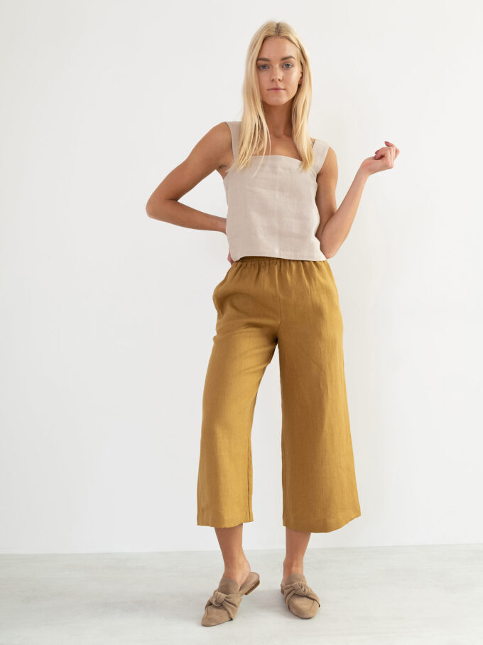 Image 3 of RILEY Wide Leg Linen Pants in Yellow Honey from Love and Confuse