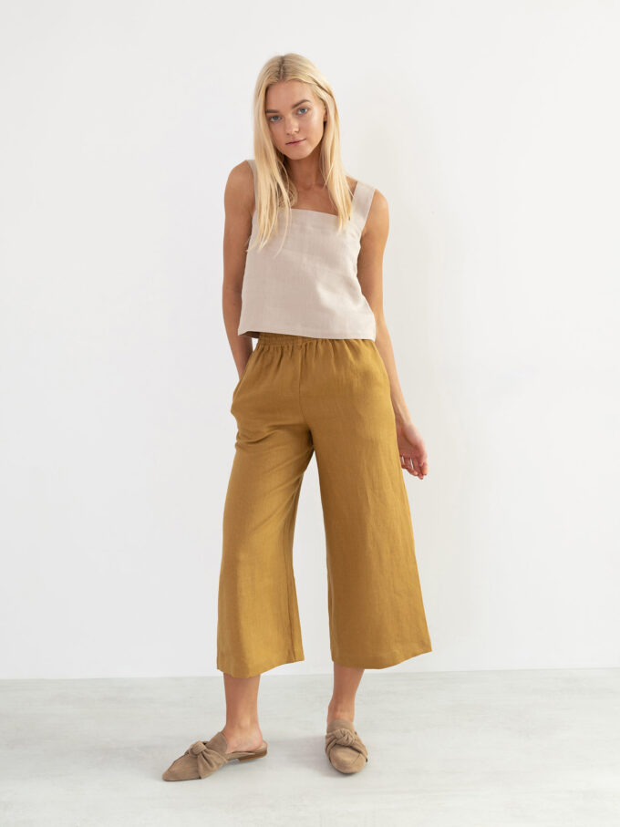 Image 4 of RILEY Wide Leg Linen Pants in Yellow Honey from Love and Confuse