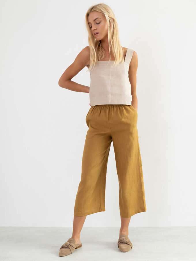Image 5 of RILEY Wide Leg Linen Pants in Yellow Honey from Love and Confuse