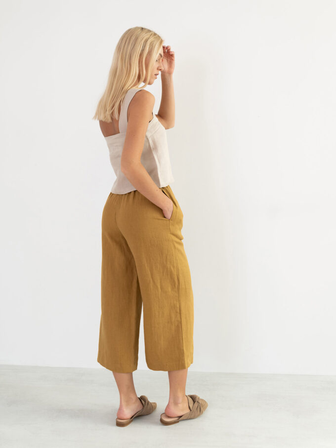 Image 6 of RILEY Wide Leg Linen Pants in Yellow Honey from Love and Confuse