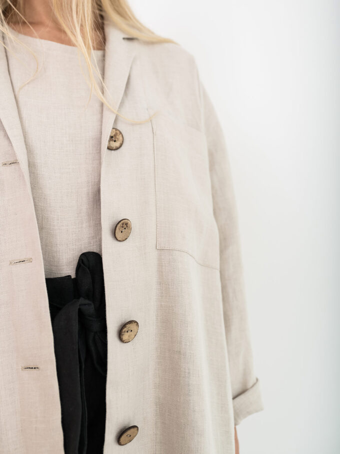 Image 4 of ROSEMARY Linen Jacket in Beige from Love and Confuse