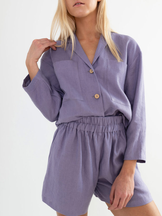 Image 1 of ROSEMARY Linen Shirt in Violet Tulip from Love and Confuse