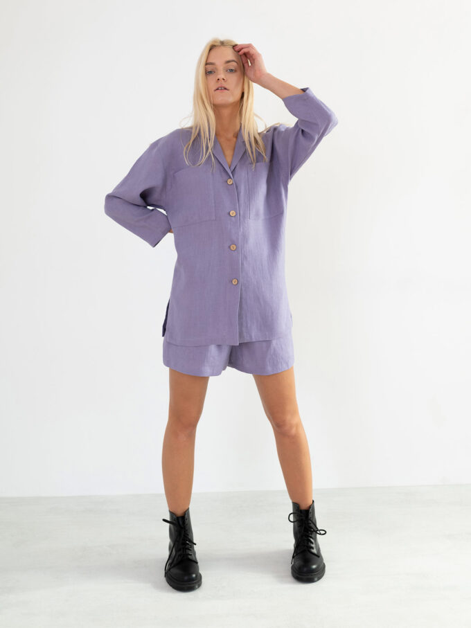 Image 5 of ROSEMARY Linen Shirt in Violet Tulip from Love and Confuse