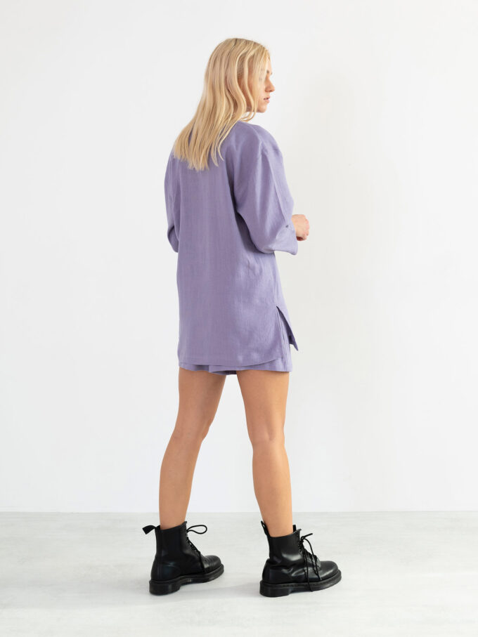 Image 6 of ROSEMARY Linen Shirt in Violet Tulip from Love and Confuse
