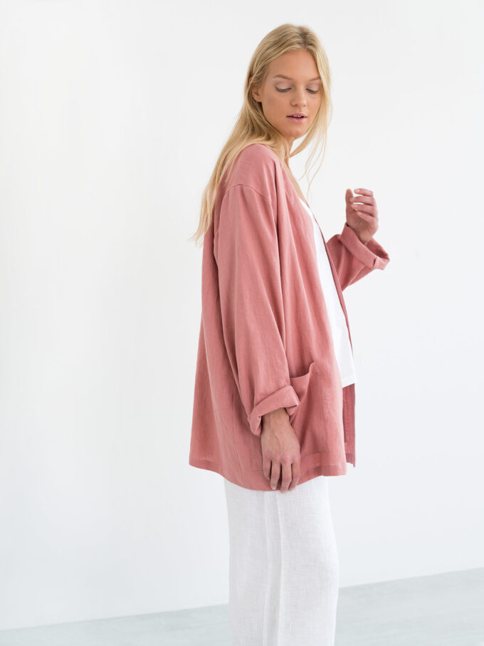 Image 2 of SELBY Linen Jacket in Salmon Pink from Love and Confuse