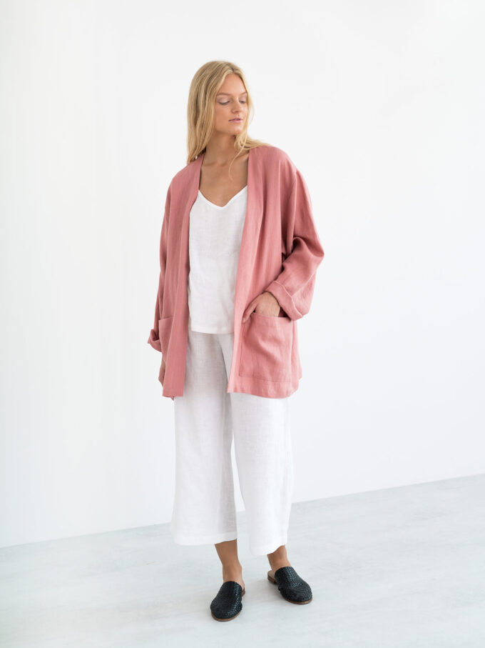 Image 4 of SELBY Linen Jacket in Salmon Pink from Love and Confuse