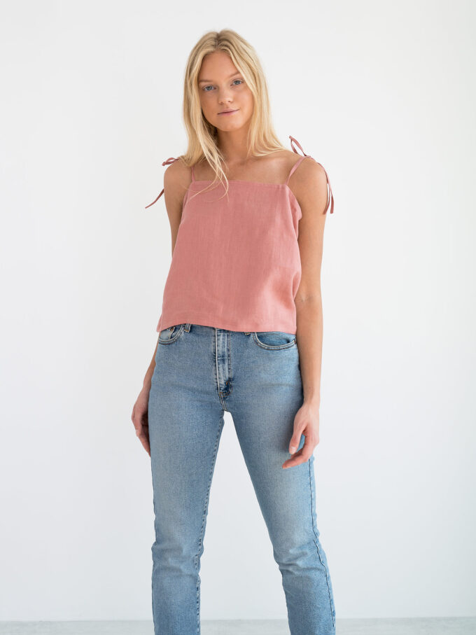Image 1 of SOPHIE Linen Strap Top in Salmon Pink from Love and Confuse