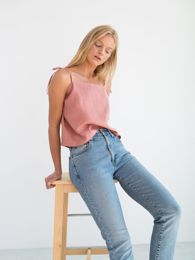 Image 5 of SOPHIE Linen Strap Top in Salmon Pink from Love and Confuse