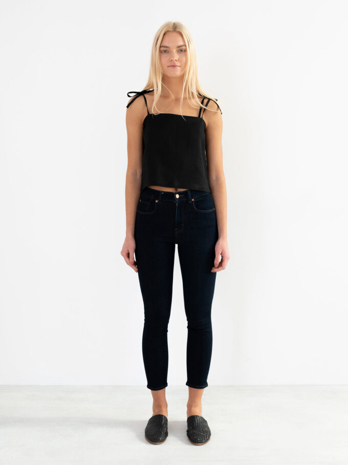 Image 3 of SOPHIE Linen Strap Top in Black from Love and Confuse