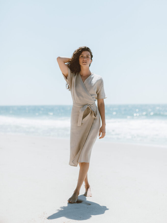 Image 3 of SUMMER Linen Wrap Dress in Beige from Love and Confuse