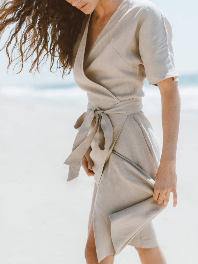 Image 4 of SUMMER Linen Wrap Dress in Beige from Love and Confuse