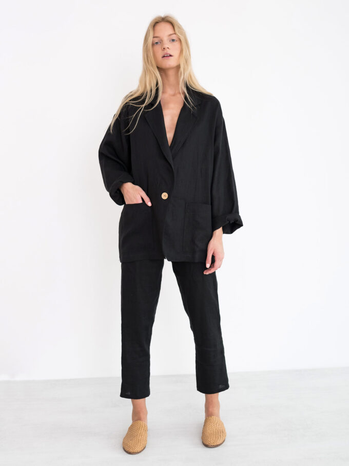 Image 1 of VALERIE Linen Blazer in Black from Love and Confuse