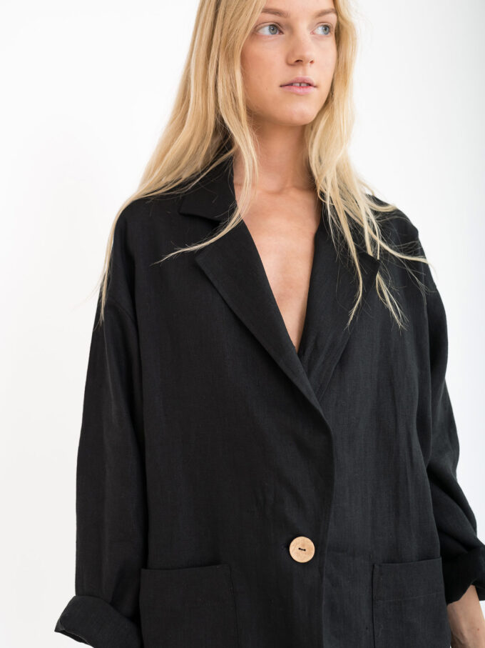 Image 2 of VALERIE Linen Blazer in Black from Love and Confuse