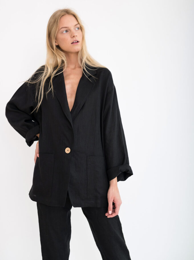 Image 3 of VALERIE Linen Blazer in Black from Love and Confuse