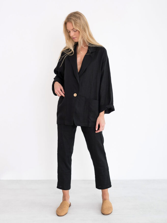 Image 4 of VALERIE Linen Blazer in Black from Love and Confuse