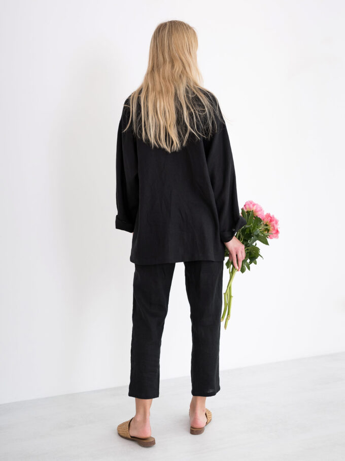Image 5 of VALERIE Linen Blazer in Black from Love and Confuse