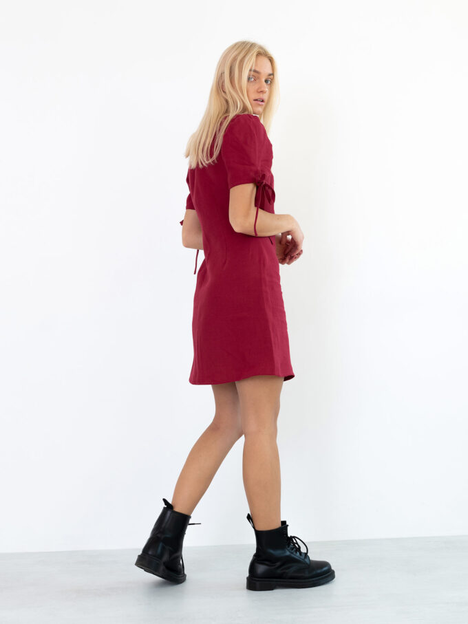 Image 1 of VENUS Linen Button Down Dress in Cherry Red from Love and Confuse