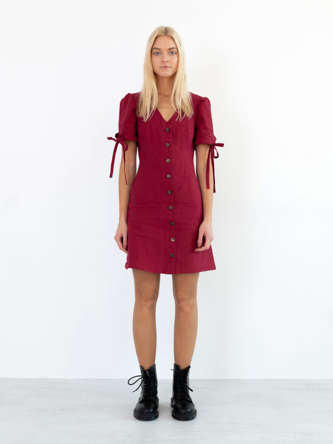 Image 2 of VENUS Linen Button Down Dress in Cherry Red from Love and Confuse