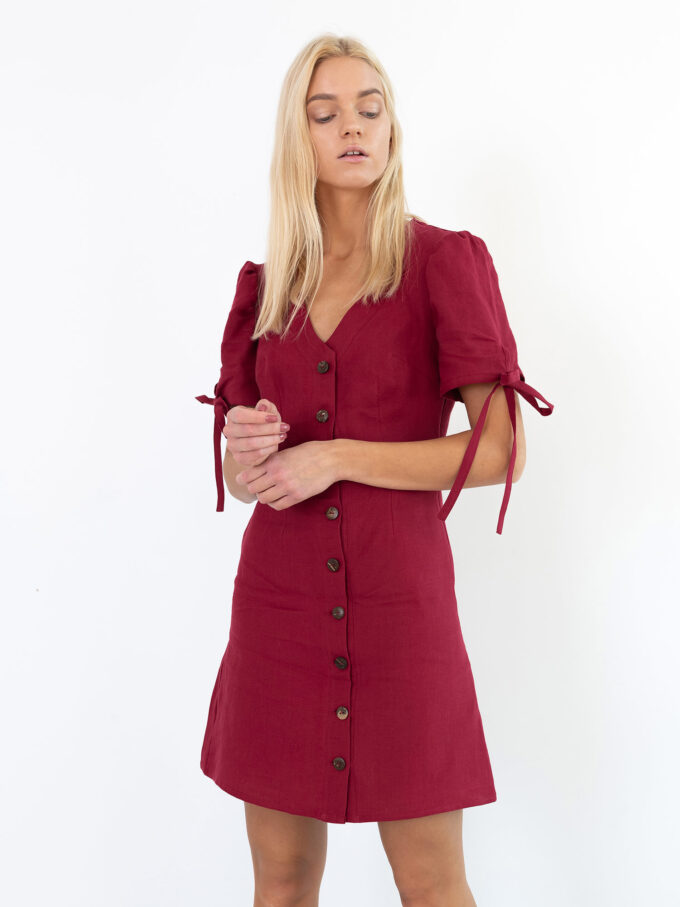 Image 3 of VENUS Linen Button Down Dress in Cherry Red from Love and Confuse