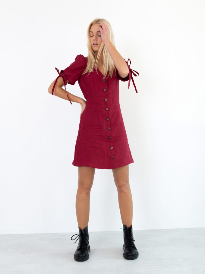 Image 4 of VENUS Linen Button Down Dress in Cherry Red from Love and Confuse
