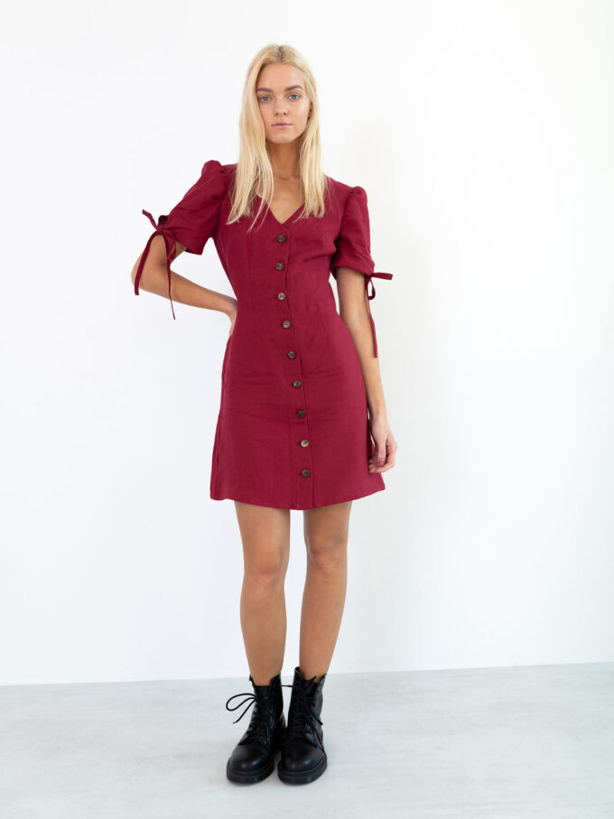 Image 5 of VENUS Linen Button Down Dress in Cherry Red from Love and Confuse