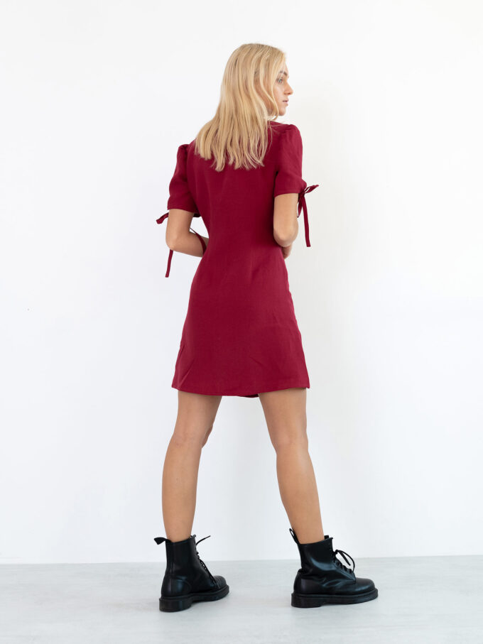 Image 6 of VENUS Linen Button Down Dress in Cherry Red from Love and Confuse