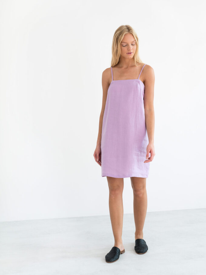 Image 4 of VIOLET Linen Slip Dress in Lilac from Love and Confuse